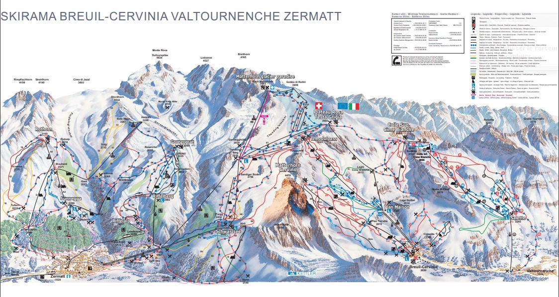Ski resort skirama breuil-cervinia valtournenche zermatt